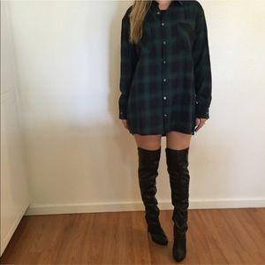 Tops - Leah Green Plaid Oversized Boyfriend Flannel